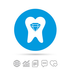 tooth crystal sign icon dental prestige symbol vector image