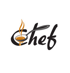 lettering chef with spoon vector image