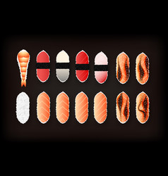 Set of tasty sushi realistic icon vector