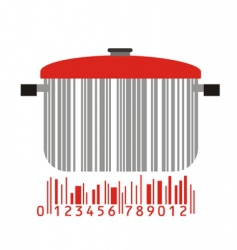 Bowl and barcode vector