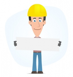 builder holds up a poster vector image