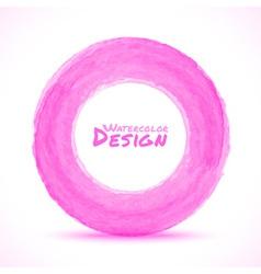 Hand drawn watercolor light pink circle design ele vector image