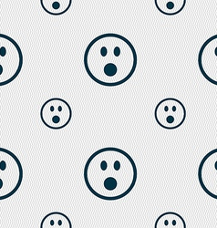 Shocked face smiley icon sign seamless pattern vector