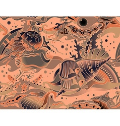 seamless sea pattern with tropical fishes stars vector image