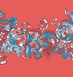 Abstract hand-drawn wave floral pattern vector