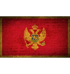 Flags montenegro with dirty paper texture vector