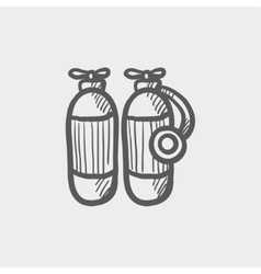 Oxygen tank sketch icon vector