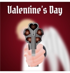 Happy valentines day cupid carries a gun vector