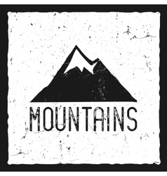 Hand drawn mountain poster wilderness old style vector