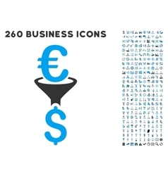 Euro dollar conversion filter icon with flat vector