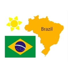 Brazil map and flag over white vector