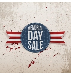 Memorial day sale patriotic sign and ribbon vector