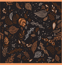 Autumn seamless pattern with leaves dark vector