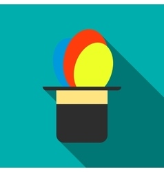 Balloons appearing from magic hat icon vector