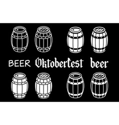 Barrels set beer oktoberfest wood vector image vector image