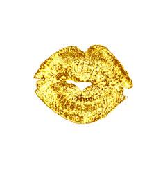 beautiful golden luxury lips kiss vector image