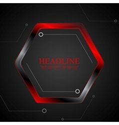 Black and red metal hexagon tech drawing vector