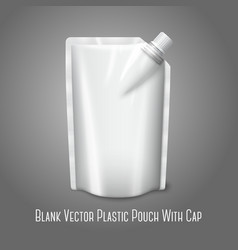 Blank white realistic plastic pouch with cap vector