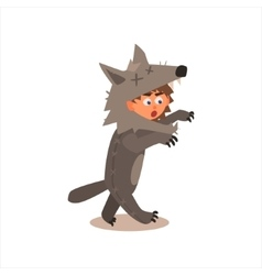 Boy Desguised As Wolf vector image vector image