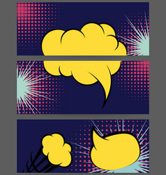 Comic balloon horizontal lilac banner vector