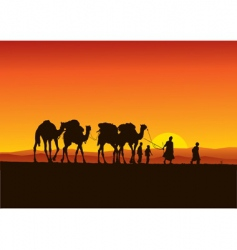 Desert camel caravan vector
