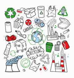 ecology and recycling industry hand drawn doodle vector image