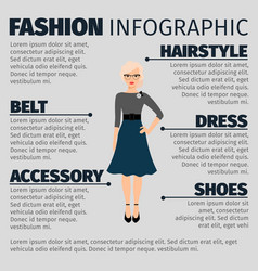 Fashion infographic with female teacher vector