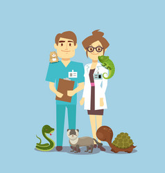 flat veterinarian and exotic pets isolated on vector image vector image