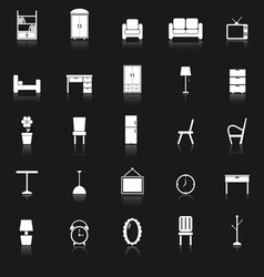 Furniture icons with reflect on black background vector
