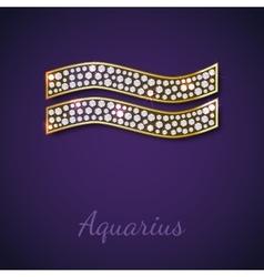 Golden aquarius zodiac signs vector