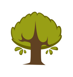 green tree flat icon eco nature symbol of vector image vector image