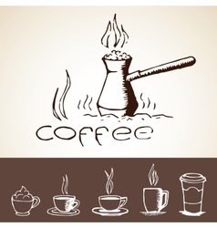 Hand drawn coffee sketches vector