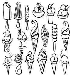 Ice cream symbol set vector image vector image