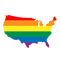 Lgbt rainbow pride flag in a shape of usa map vector