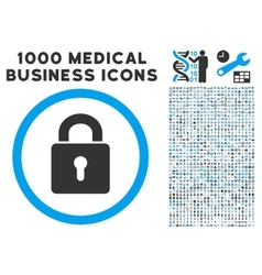 Lock keyhole icon with 1000 medical business vector