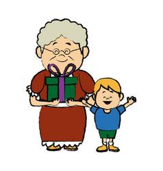 Lovely grandma with grandson holding gift box vector