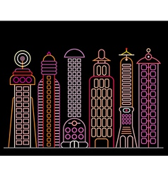 neon city vector image