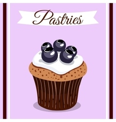 Pastries Blueberry Cupcakes vector image