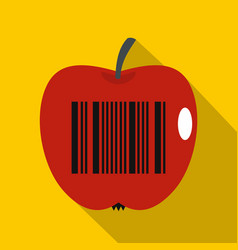 Red apple with barcode icon flat style vector