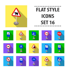 Road signs set icons in flat style big collection vector