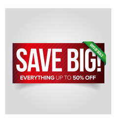 Save big - sale web banner red vector image vector image