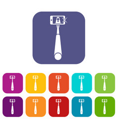 Selfie stick with mobile phone icons set vector