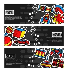 Set of Horizontal Banners about Toys vector image