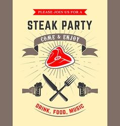 Steak party vector