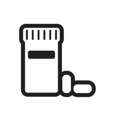 Stylish black and white icon bottle of pills vector