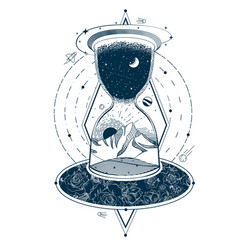 Tattoo with an hourglass enclosing the sky vector