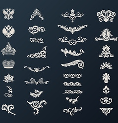 Vintage royal design elements black vector