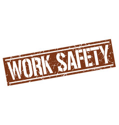 Work safety square grunge stamp vector