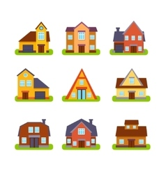 Suburban real estate houses exteriors set vector