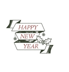 Happy new year typography wish sign vector